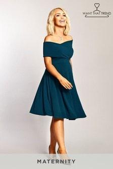Платье миди для беременных со спущенными плечами Want That Trend