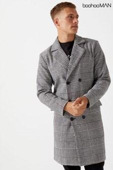 Boohoo Man Dogstooth Longline Coat
