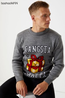 Boohoo Man Gangsta Wrapper Christmas Jumper