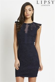 Lipsy Frill Sleeve Lace Bodycon Dress