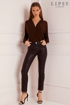 Lipsy Meghan Mid Rise Slim Leg Snake Coated Jean