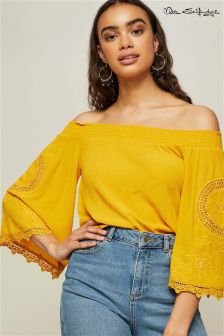 Miss Selfridge Cutwork Sleeve Bardot Top