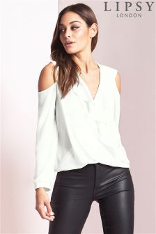 Lipsy Cold Shoulder Ruffle Wrap Blouse