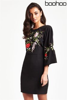 Boohoo Embroidered Tie Back Dress