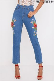 PrettyLittleThing High Waist Floral Embroidered Mom Jeans