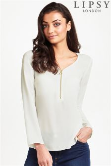 Lipsy Long Sleeve Zip Front Blouse