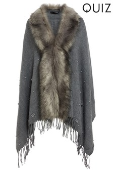 Quiz Pearl Trim Faux Fur Collar Cape