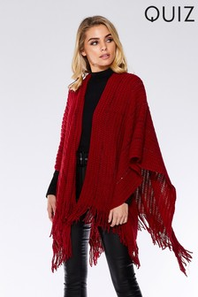 Quiz Knit Sequin Trim Cape
