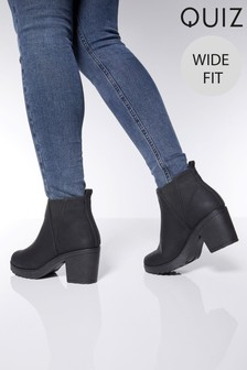 Quiz Wide Fit Chunky Ankle Boot