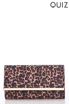 Quiz Leopard Flip Clutch Bag