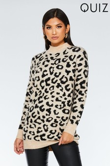 Quiz Leopard Print Long Knit Jumper