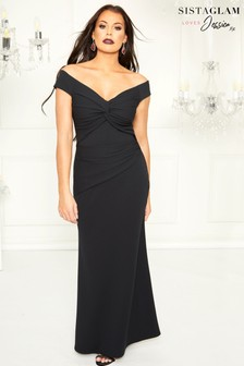 Sistaglam Loves Jessica Petite Bardot Maxi Dress