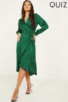 Quiz Spot Print Wrap Midi Dress