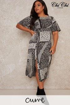 Chi Chi London Curve Vida Printed Midi Dress