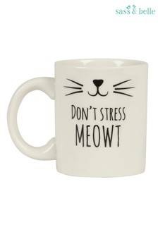 Sass & Belle Cat Whiskers Don't Stress Meowt Mug