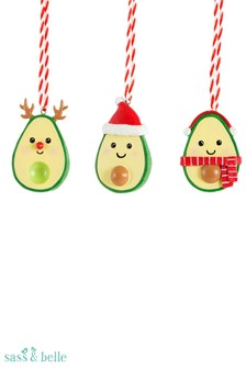 Sass & Belle Set Of 3 Merry Xmas Hanging Decorations