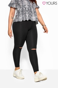 Yours Curve Ripped Knee Leggings