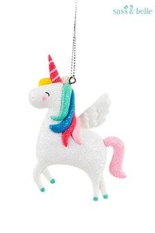 Sass & Bele Clay Shimmer Rainbow Unicorn Hanging