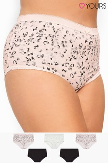 Yours Curve 5 Pack Sparkle Animal Print Full Briefs
