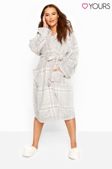 Yours Curve Check Hooded Dressing Gown