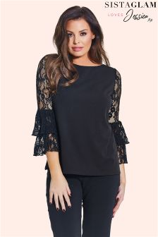 Sistaglam Loves Jessica Lace Bell Sleeve Blouse