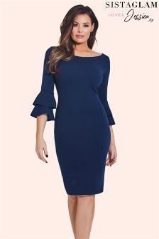 Sistaglam Loves Jessica Ruffle Sleeve Bodycon Dress
