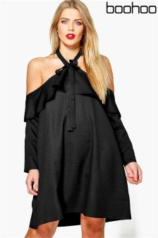 Boohoo Plus Open Shoulder Frill Detail Swing Dress