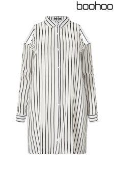 Boohoo Plus Cutout Shoulder Shirt Dress