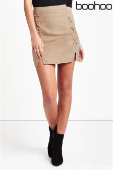Boohoo Suedette Lace Up Mini Skirt