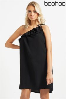 Boohoo Ruffle One Shoulder Dress