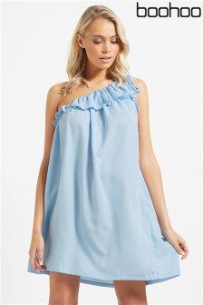 Boohoo Ruffle One Shoulder Dress