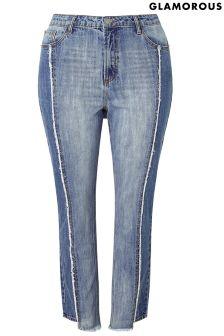 Glamorous Curve  Panel Fray Edge Skinny Skinny Jean