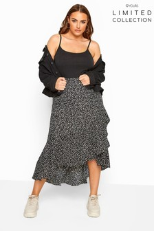 Yours Limited Collection Curve Dalmatian Print Frill Skirt