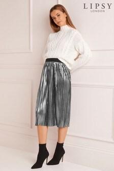 Lipsy Metallic Pleated Midi Skirt