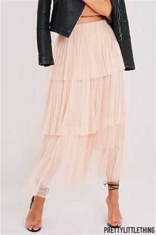PrettyLittleThing Premium Tiered Maxi Skirt