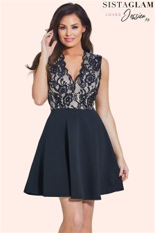 Sistaglam Loves Jessica Plunge Lace Mini Skater Dress