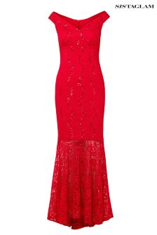 Sistaglam Sequin Lace Maxi Fishtail Dress