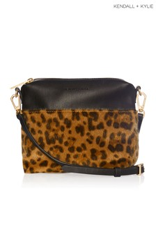 Kendall & Kylie Leopard Callie Faux Pony Crossbody Bag