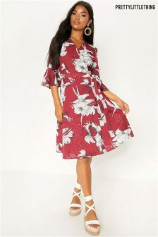 PrettyLittleThing Printed Wrap Dress
