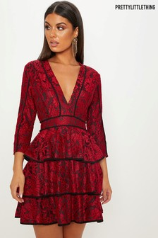 PrettyLittleThing Lace Tiered Mini Dress