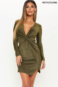 PrettyLittleThing Twist Front Lurex Dress