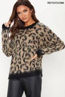 PrettyLittleThing Fluffy Leopard Print Jumper