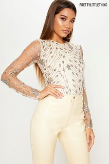 PrettyLittleThing Embellished Long Sleeve Bodysuit