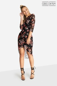 Girls On Film Figurbetontes Spitzen-Kleid mit Blumenmuster