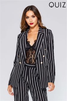 Quiz Stripe Button Detail Blazer