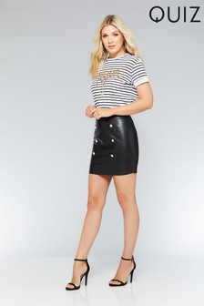 Quiz Faux Leather Button Skirt