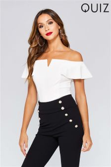 Quiz V Bar Frill Sleeve Bodysuit