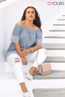 Yours Curve Chambray Embroidered Bardot Top