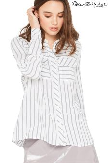Miss Selfridge Petite Stripe Bow Back Shirt