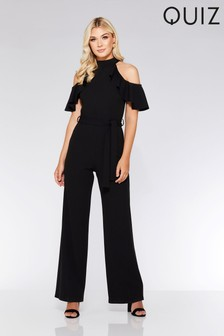 Quiz Halter Frill Detail Cold Shoulder Jumpsuit